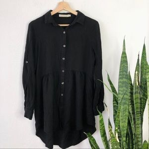 Solitaire Button up Long Tunic blouse